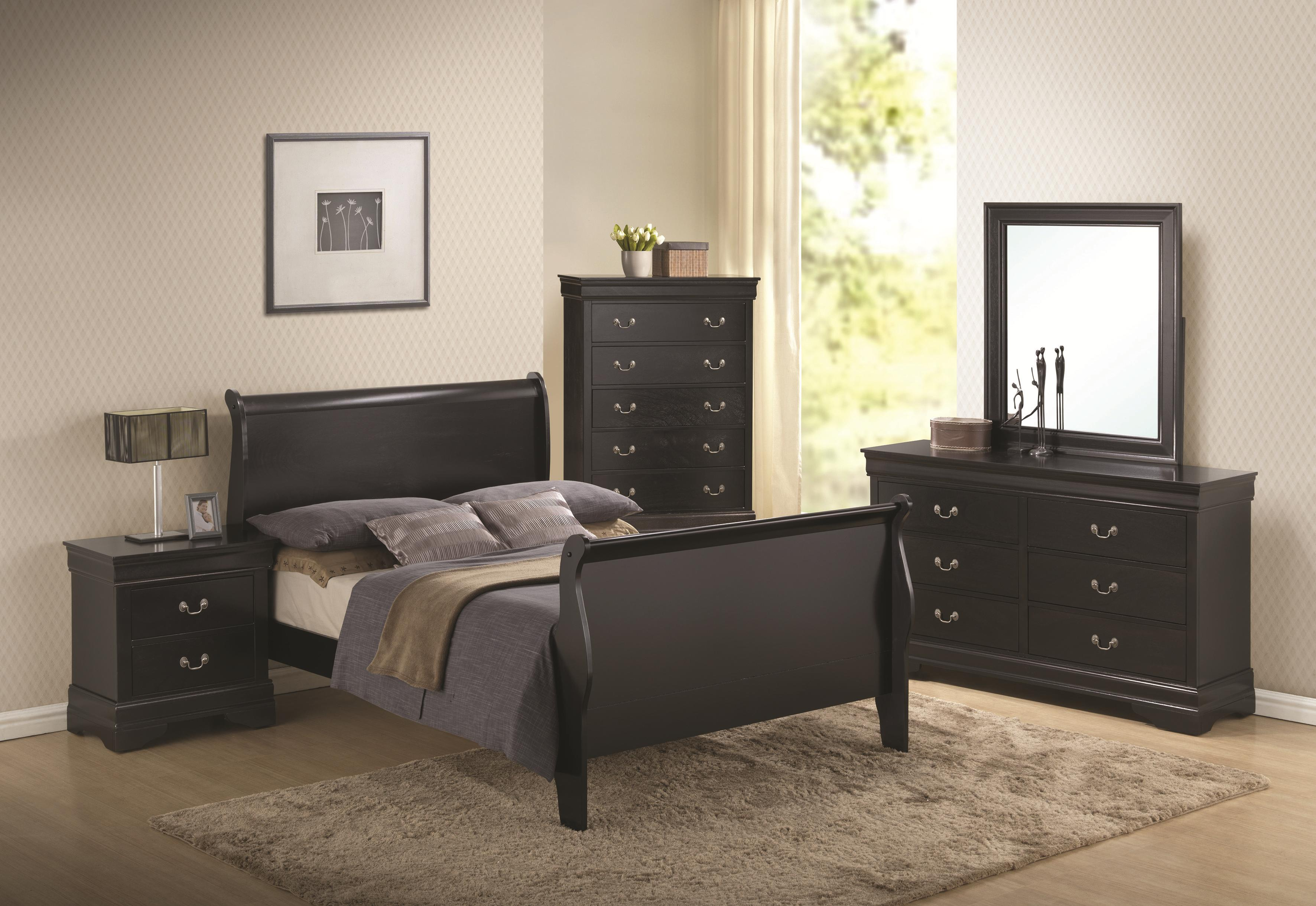 Deep Black Sleigh Bedroom Set