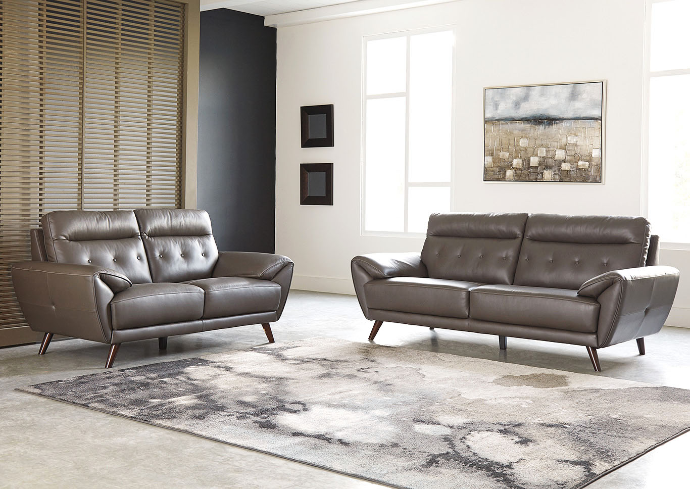 Fabulous Sissoko Gray Leather Sofa And Loveseat Furniture Dudes Evergreenethics Interior Chair Design Evergreenethicsorg