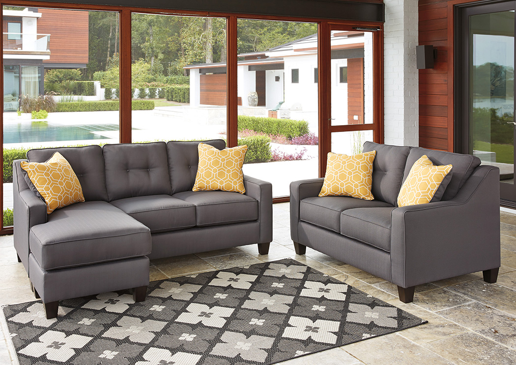 Aldie Nuvella Gray Sofa Chaise and Loveseat - Furniture Dudes