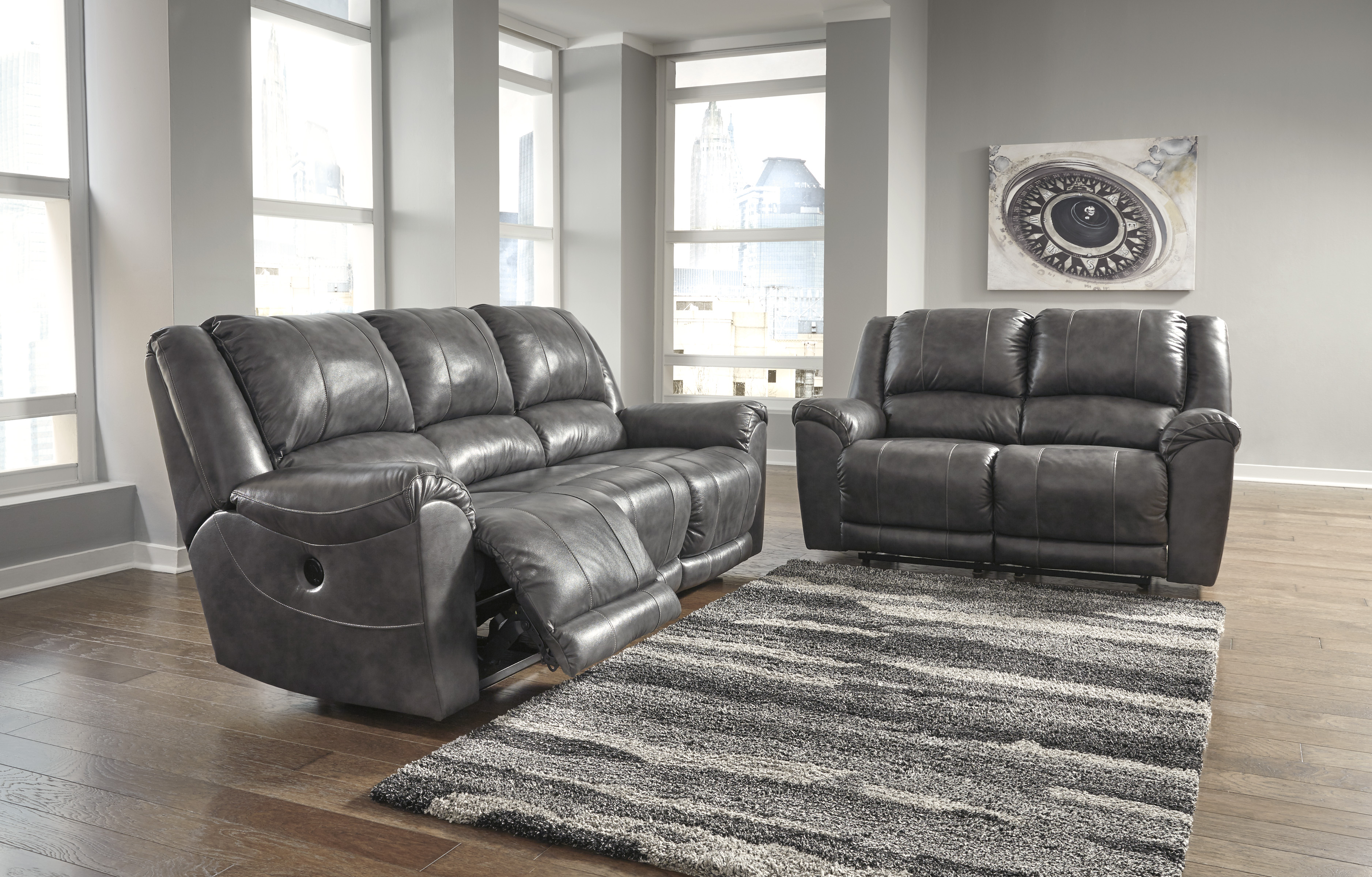 Sensational Persiphone Charcoal Power Reclining Sofa And Loveseat Gmtry Best Dining Table And Chair Ideas Images Gmtryco